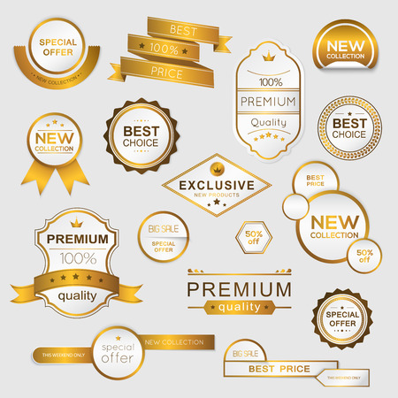 Ilustración de Collection of golden premium promo seals/stickers. isolated vector illustration - Imagen libre de derechos