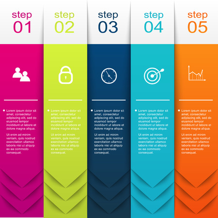 Illustration pour Vector colorful info graphics for your business presentations. Can be used for info graphics, graphic or website layout vector, numbered banners, diagram, horizontal cutout lines, web design. - image libre de droit