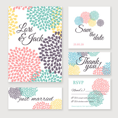 Illustration pour Wedding invitation card set. Thank you card, save the date cards, RSVP card, just married card. - image libre de droit