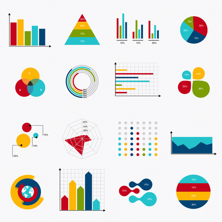 Illustration for Business data market elements dot bar pie charts diagrams and graphs flat icons set. Can be used for info graphics, graphic or website layout vector, numbered banners, diagram, horizontal cutout lines, web design. Vector illustration. - Royalty Free Image