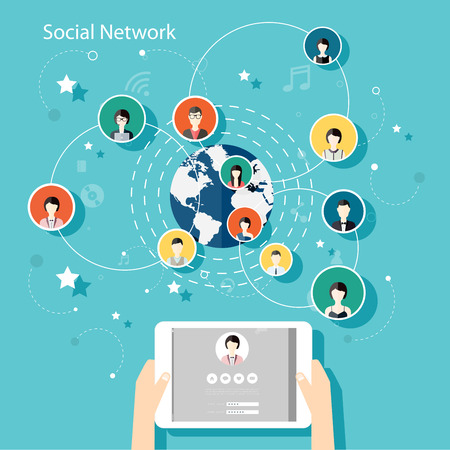 Illustration pour Social Network Vector Concept. Flat Design Illustration for Web Sites Infographic Design with human hand with tablet avatars. Communication Systems and Technologies. - image libre de droit