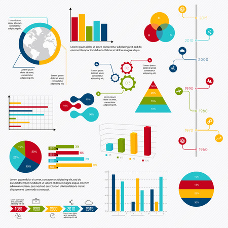 Illustration pour Business data market elements dot bar pie charts diagrams and graphs flat icons set. Can be used for info graphics, graphic or website layout vector, numbered banners, diagram, horizontal cutout lines, web design. Vector illustration. - image libre de droit