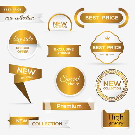 Illustration pour Collection of golden premium promo seals/stickers. isolated vector illustration - image libre de droit