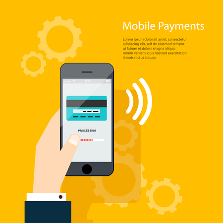 Illustration pour Mobile Payments. Man holding phone. Vector illustration of modern smartphone with processing of mobile payments from credit card on the screen. - image libre de droit