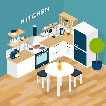 Illustration pour Vector isometric kitchen interior - 3D illustration - image libre de droit