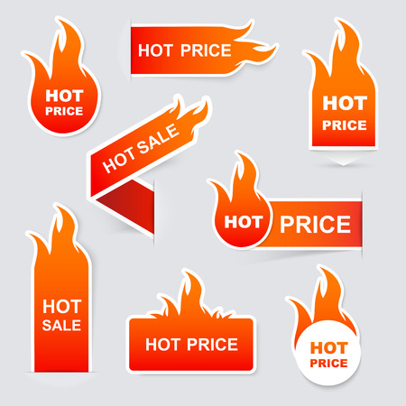 Illustration pour Collection of hot sale and hot price promo seals/stickers.Isolated vector illustration - image libre de droit