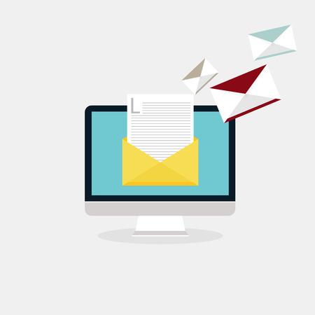 Illustration pour Sending emails and receiving mail. Email advertising, direct digital marketing. Flat design style modern vector illustration concept. - image libre de droit