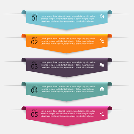 Ilustración de Vector colorful info graphics for your business presentations. Can be used for info graphics, graphic or website layout vector, numbered banners, diagram, horizontal cutout lines, web design. - Imagen libre de derechos