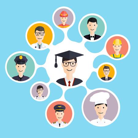 Illustration pour Graduation male student make career choices: businessman, doctor, artist, designer, cook, police, teacher, pilot, admin. Vector illustration. - image libre de droit