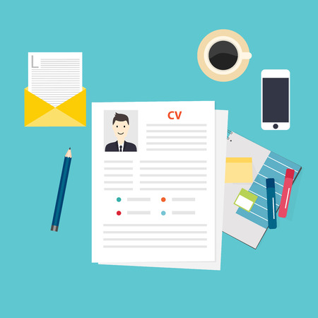 Illustration pour CV resume. Job interview concept. Writing a resume. - image libre de droit