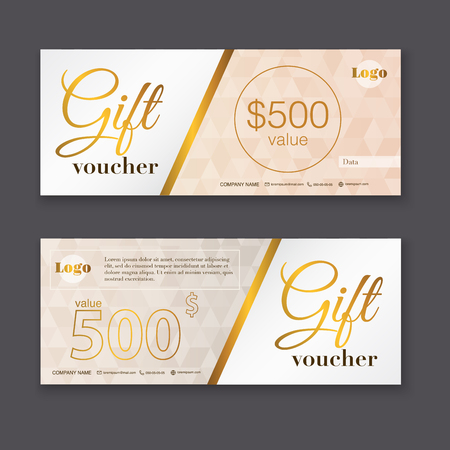Illustration pour Gift voucher template with gold pattern, Gift certificate. Background design gift coupon, voucher, certificate, invitation, currency. Collection gift certificate. Vector illustration. - image libre de droit
