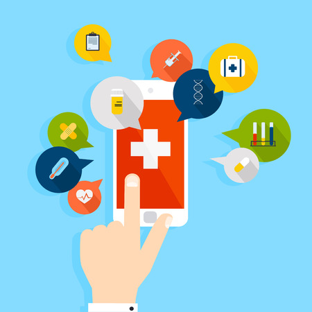 Illustration pour Mobile phone with health application open with hand. Vector modern creative flat design. Vector illustration. - image libre de droit