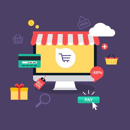 Ilustración de E-commerce, electronic business, online shopping, payment, delivery, shipping process, sales. Infographic concept vector. - Imagen libre de derechos