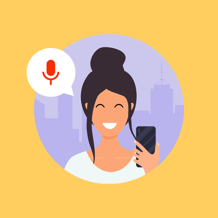 Illustrazione per Woman talking on the phone with the digital voice assistant. Flat design modern vector illustration concept. - Immagini Royalty Free