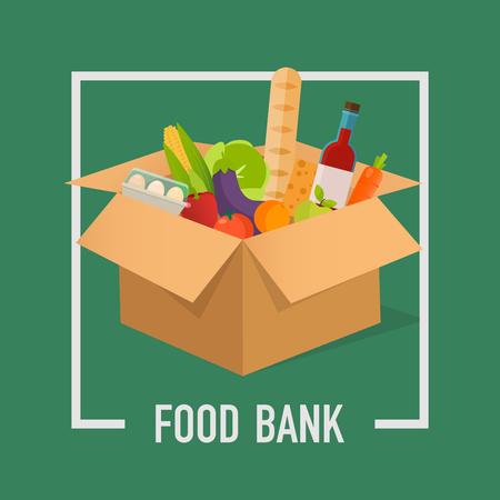 Ilustración de Food Bank simple concept illustration. Time to donate. Food donation. Boxes full of food. Vector concept illustrations. - Imagen libre de derechos
