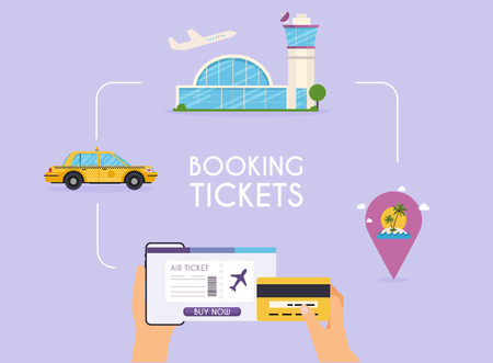 Ilustración de Online booking ticked. Buy Ticket Online. Traveling on airplane, planning a summer vacation, tourism and journey objects and passenger luggage. - Imagen libre de derechos