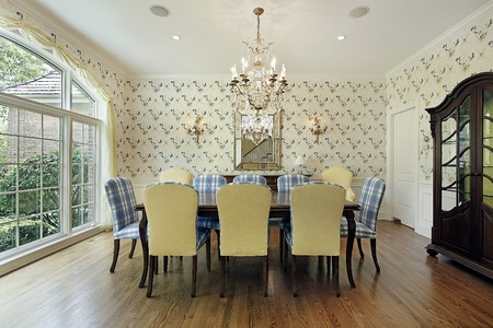 Dining room with yellow and blue plaid chairs