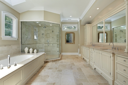 Master bath in luxury home with large glass shower