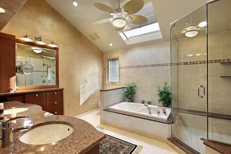 Modern master bath with glass shower and skylight
