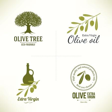 Illustration pour Set of olive labels - image libre de droit