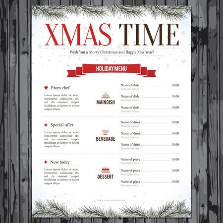 Illustration pour Special Christmas festive menu design - image libre de droit