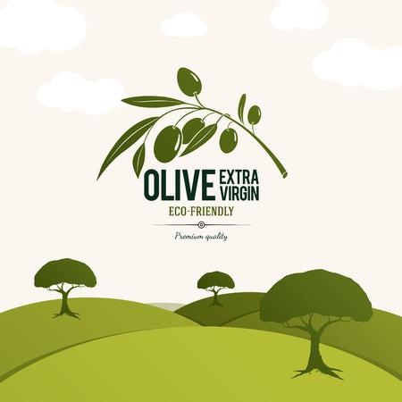 Ilustración de Olive label, logo design. Olive tree - Imagen libre de derechos