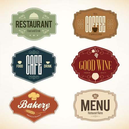 Illustration pour Vintage and labels design. set for restaurant, cafe and coffee house - image libre de droit