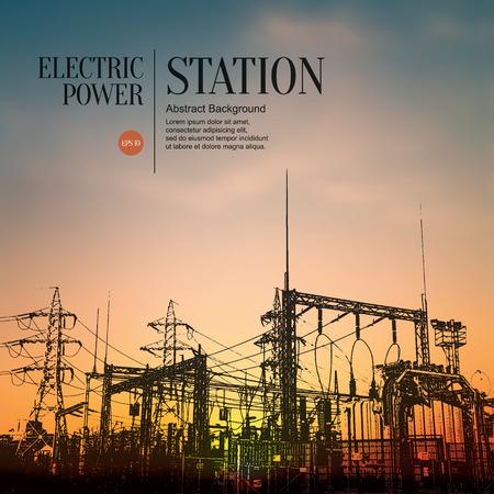 Ilustración de Abstract sketch stylized background. Electric power station - Imagen libre de derechos