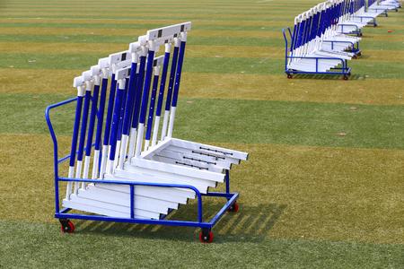 Photo pour The hurdles stand on the track - image libre de droit