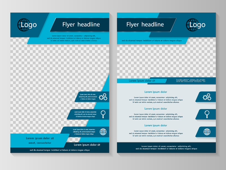 Illustration pour Vector flyer template design with front page and back page. Business brochure or cover - image libre de droit