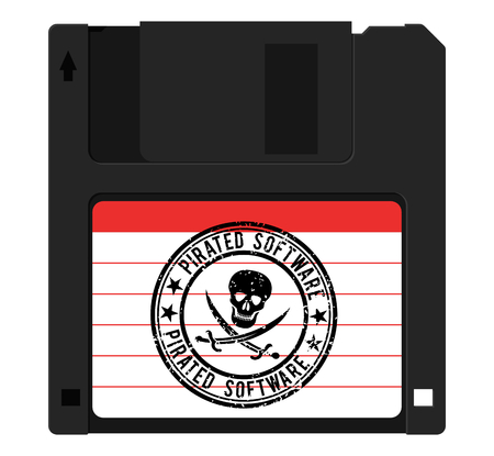 Illustration pour Diskette with pirated software, stamp with a skull - image libre de droit