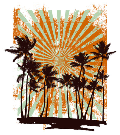Illustration for grunge summer backdrop with many palms - Royalty Free Image