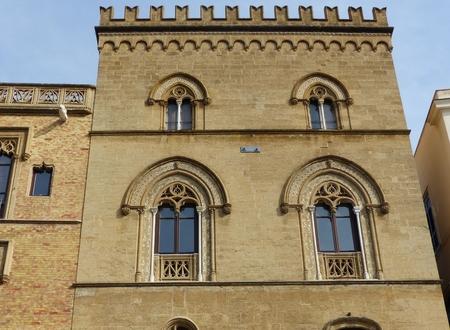 Photo for Facade of a Moorish palace at Piazza della Marina in Palermo in Sicily, Italy. - Royalty Free Image
