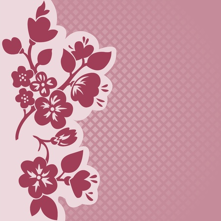 silhouette of flowering branch on a pink checkered background