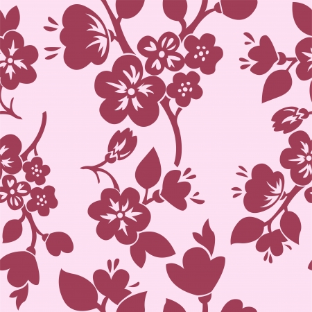 seamless background with pink flowering branches of cherry and apple trees