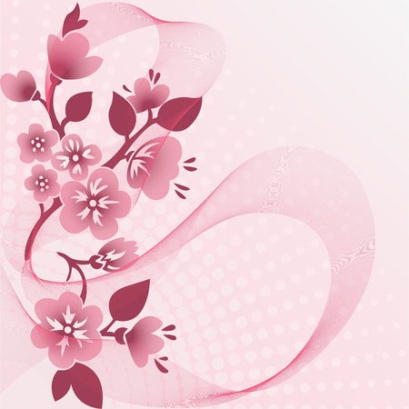 abstract pink background with  flowering branches and the veil