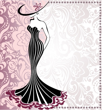 Illustration for frame with a silhouette of slender woman in a hat with bow - Royalty Free Image
