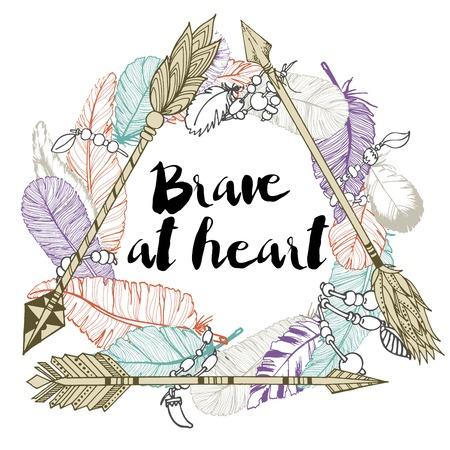 Ilustración de Vector illustration of 3 arrows, making the delta and feather wreath. Decorated with lettering quote. Be brave. Hand drawn color boho chic illustration. - Imagen libre de derechos