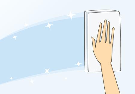 Illustration pour Hand of woman use towel wipe glass to bright - image libre de droit