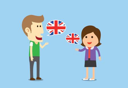 Ilustración de Women and man speaking English in conversation of them - Imagen libre de derechos
