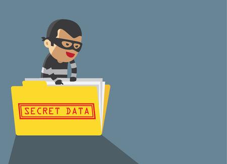 Illustration pour computer hacker hacking robbery secret data in yellow folder - image libre de droit