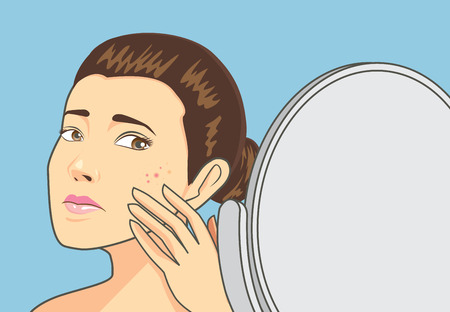 Illustrazione per Women strain at back cosmetic mirror with problem acne face. Skin care concept - Immagini Royalty Free
