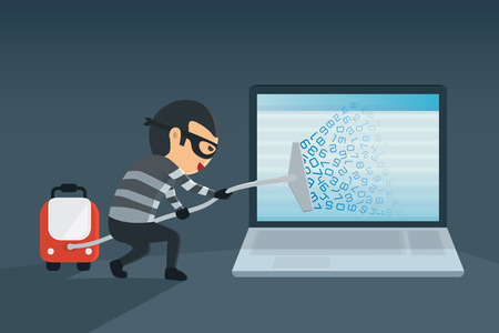 Illustration pour bandit robbery password and data for computer with vacuum. Concept hacking computer - image libre de droit