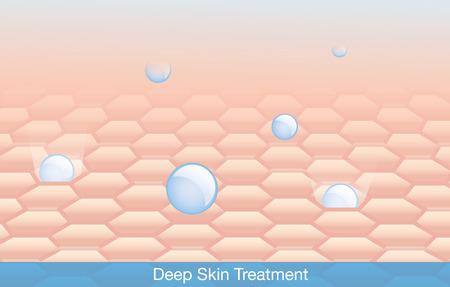 Illustrazione per Active ingredient treatment deep into skin. - Immagini Royalty Free