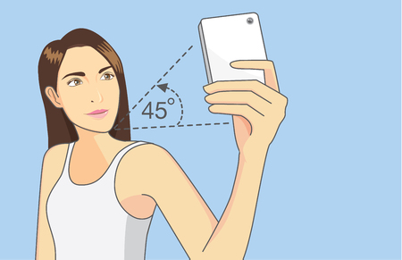 Illustration for Woman holding the phone above her head and shooting down in a 45 degree angle for shoot perfect photo - Royalty Free Image