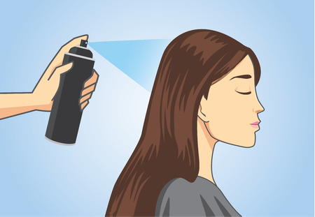 Hairdresser make hair styling to customer with hair spray in salon
