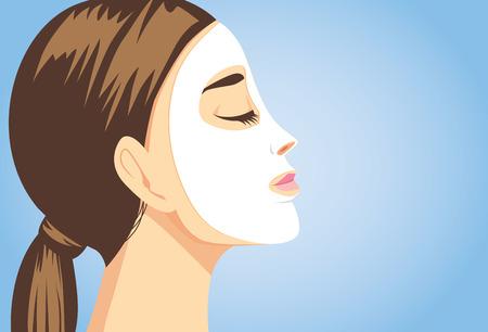 Ilustración de Woman applying a facial sheet mask for treatment her face. Close up shot, side view. - Imagen libre de derechos