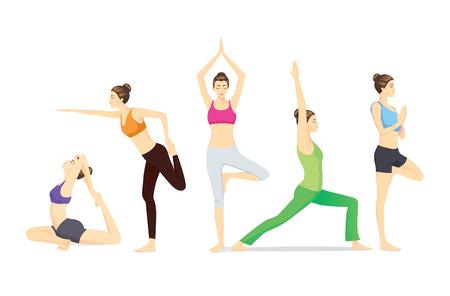 Beauty women group in sportswear posing different yoga posture