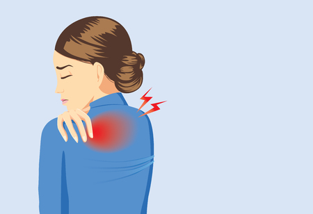 Illustration pour Working woman in blue suit touching her back because her have back pain - image libre de droit