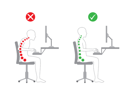 Illustration pour Correct body alignment in sitting working with computer - image libre de droit